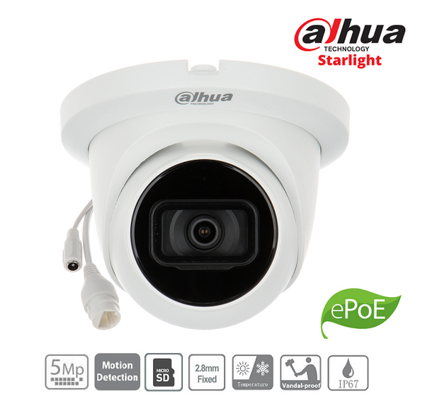 IPC Dahua 5MP, 2.8mm, IR30M - HDW2531T-AS-0280B-S2 + SD up to 256GB