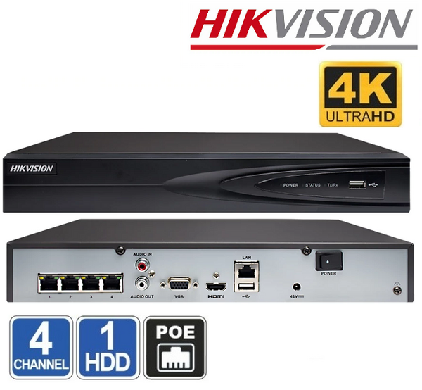 NVR 4 CHANEL HIKVISION DS-7604NI-K1/4P(B)  Ultra-HD 4K + PoE