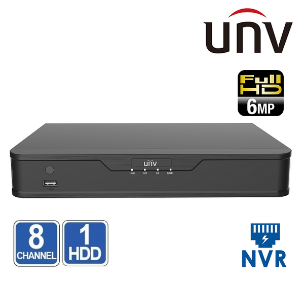 NVR 8 CHANEL UNIVIEW NVR301-08S2 6MP