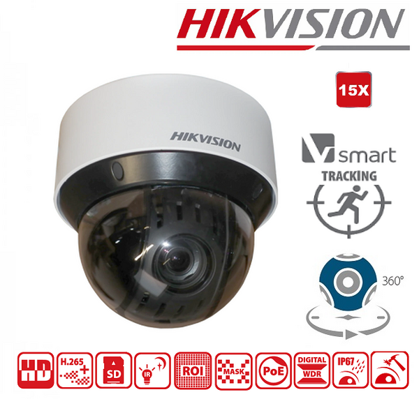 IPC - HIKVISION PTZ - DS-2DE4A215IW-DE - 2Mpx,(Smart Tracking) 15X-optical zoom , обектив 5~75мм