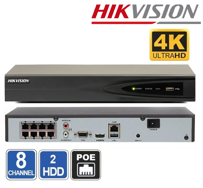 NVR 8 CHANEL HIKVISIONDS-7608NI-K1/8P(B) - 8Mpx + 8xPoE